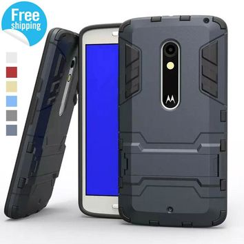 Hybrid Dual Heavy Duty Armor Stand Case For Motorola Moto X Play Case XT1563 Back Cover For Motorola X Moto Play Cases Cover
