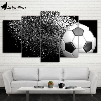 HD Printed 5 Piece Canvas Art Football Disintegration Painting Wall Pictures Modular Framed Painting Free Shipping CU-2338C