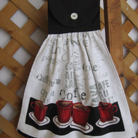Coffee Kitchen Tea Towel LAST ONES Kitchen Towel with Coffee Cups Red and Black Coffee Tea Towel SnowNoseCrafts
