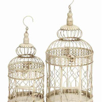 Set of 2 White Metal Round Parakeet Birds Cages 22""