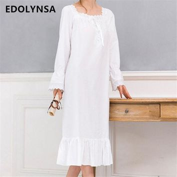 ICIKL3Z New Arrivals Vintage Nightgowns Sleepshirts Elegant Home Dress Lace Sleepwear Women Sleep & Lounge Soft Cotton Nightgown #H120