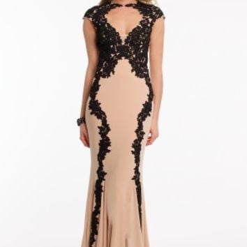Contrast Applique Lace Dress