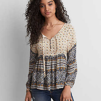 AEO Printed Long Sleeve Top, Multi