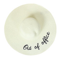 Out of Office Floppy Hat Sunny Embroidered Large Straw Sun Hat, Beige