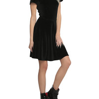 Black Velvet White Collar Dress