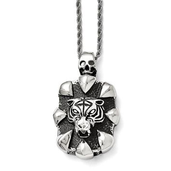 Men's Stainless Steel Antiqued Skull and Tiger Necklace