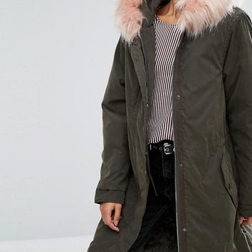 Pull&Bear Longline Parka With Pink Faux Fur Hood at asos.com