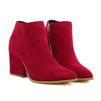 Red Faux Suede Block Heel Ankle Boots - Red /