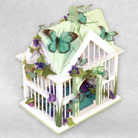 Bird House with Butterflies - Mint Green Spring with Purple Flowers