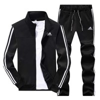 ADIDAS autumn and winter sports outdoor running fitness sportswear two-piece Black