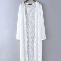Lace Long Sleeve Long Cardigan Shawl