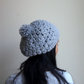 PDF crochet pattern - chunky slouchy bobble cluster  pom pom hat, beanie  - DIY tutorial - Quick and easy gift