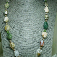 Ocean Jasper Polished Faceted Beaded Necklace 20 inch