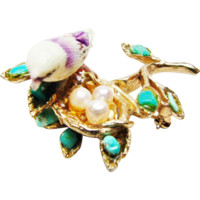 Signed Swoboda Bird Nest Tree Branch with Cultured Pearl and Turquoise Accents
