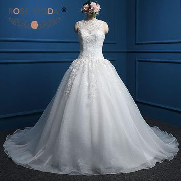 Rose Moda High Neck Wedding Dress Organza V Back Pearl Beaded Ball Gown Plus Size Wedding Dresses 2018