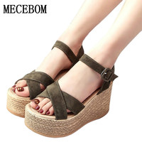 2017 Suede Gladiator Sandals Platform Wedges Summer Creepers Casual Buckle Shoes Woman Sexy Fashion beige High Heels K13W