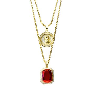 """Jewelry Kay style 14k Gold Plated Medallion Jesus & Red Ruby 22""""&27"""" Combo Pendant Chain MHC 210 G"""