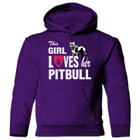 This Girl Loves Her Pitbull Heavy Blend Children's Hooded Sweatshirt