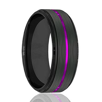 NIGHTSHADE Black Brushed Tungsten Wedding Band With Thin Purple Groove