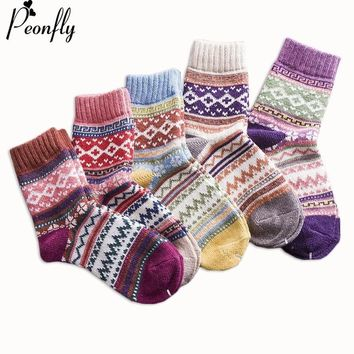 PEONFLY Women Printing Vintage Striped Jacquard Pattern Candy Color Happy Sock Winter Rabbit Hair Wool Thicken Warm Casual Socks