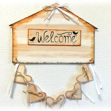 Welcome sign - rustic home decor - wall sign - wall hanging - sign - wall decor - wall art