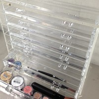 "Sheer Miracle Celebrity Style Crystal Clear Acrylic Makeup Cosmetic Organizer Display - Heavy Duty, High End, Elegant Ice Clear Makeup Jewelry Box *12"" X 12"" X 6"" *7-drawers"
