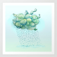 PRICKLY RAIN Art Print by Emilia Jesenska