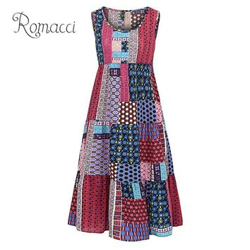 Romacci Women Summer Boho Dress Geometry Print O Neck Sleeveless A-line Long Dress 5XL Plus Size Maxi Dresses Red/Green/Blue