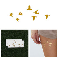 Flock Yeah - Metallic Gold Temporary Tattoo (Set of 2)