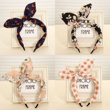 New Arrival Fashion Butterfly Bow Flower Hair Garland Lovely Rabbit Ear Headband for Headwear Women Hair Accessories