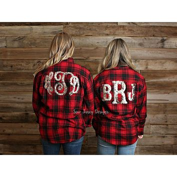 Flannel with Mermaid Sequin Monogram