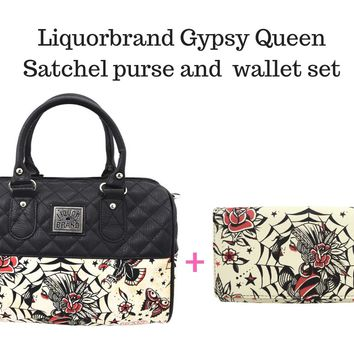 Liquorbrand Gypsy Queen Flash Tattoo Art Satchel Purse & Wallet Set