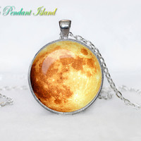 Full Moon Necklace Moon Pendant  Galaxy Space  Orange Yellow Red Moon  Jewelry Necklace for men  Art Gifts for Her(P11H02V03)