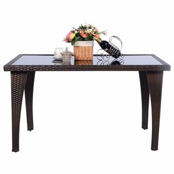 Giantex Brown Patio Furniture Outdoor Garden Dining Rattan Wicker Coffee Table Home Furniture HW51573