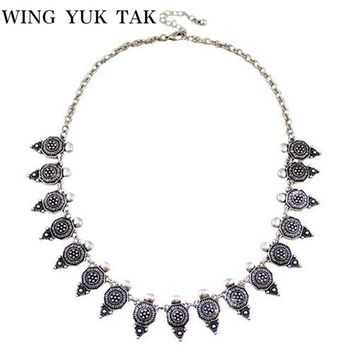 Fashion Brand Jewelry Bohemia Style Turkish Antique Silver Link Short Vintage Chokers Necklace For Women Maxi Necklace