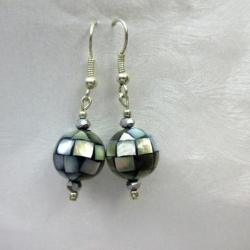 Abalone Earrings, Mosaic Earrings, Abalone Bead Earrings