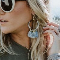 When Skies Are Gray Tassel Earrings