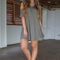Weekend Off Olive Half Sleeve Cold Shoulder Dress With Buttons