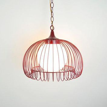 Vintage 80s Industrial Caged Hanging Light In Red