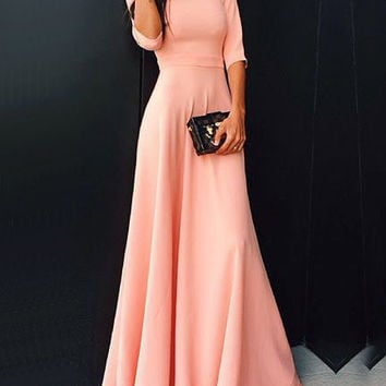 Pink Half Sleeve Maxi Dress