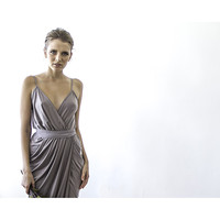 Mini Grey Dress , Wrap Mini Dress , Taupe Dress, Bridesmaid Mini Dress, Party Dress