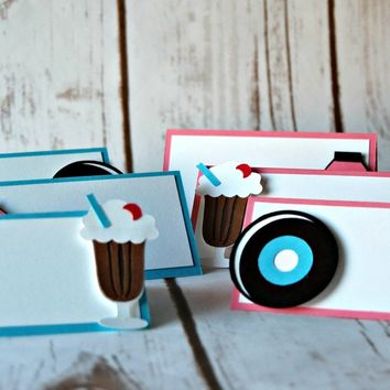 50s Themed Party Name Tags, Fab Fifties Party Buffet Tags, Sock Hop Party Food Names (set of 6)
