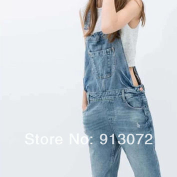 Women classic holes blue denim suspender denim pants jeans trouses pockets metal buttons casual slim brand design pants KZ382