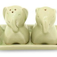 Smiling Elephants Celadon Ceramic Salt & Pepper Shakers - Handmade in Thailand (Set of 2)