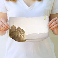 Chic Clutch, handbag, trendy, fine art photograph, Chateau, Switzerland, castle, travel, evening bags, two sizes, under 50, gift for her,