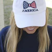 Jadelynn Brooke America Bow Hat in White AMERICA-HAT