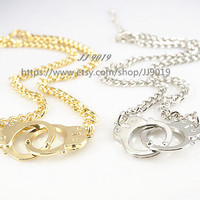 Couples Necklace Set, Big Handcuffs Necklace,Gold Chunky Curb Chain Necklace,Gold, Silver, Set of 2, Friendship Graduation Birthday Gifts,