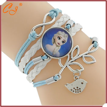 Snow Princess Vintage Snow Queen Antique Cabochon cartoon Braided Leather Bracelet Wristbands Kids Party Gift Supply 9 Style