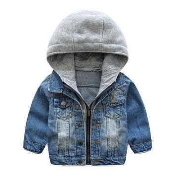 2017 Kids Denim Jacket Boys Jean Coat Clothing Fashion Causal Girls Cardigan Children Outerwear Cowboy Toddler Hooded 2-10yrs