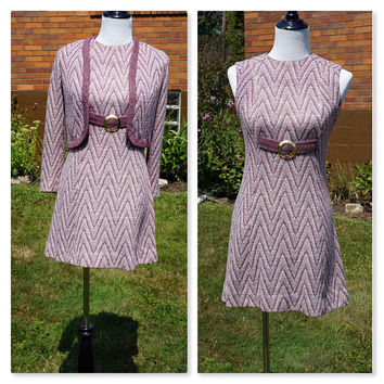 Vintage Sweater Dress Suit, 60s Mod Knit, Mauve Zig Zag Mini Dress, Midcentury,  Kelly Arden, Cropped Bolero Jacket